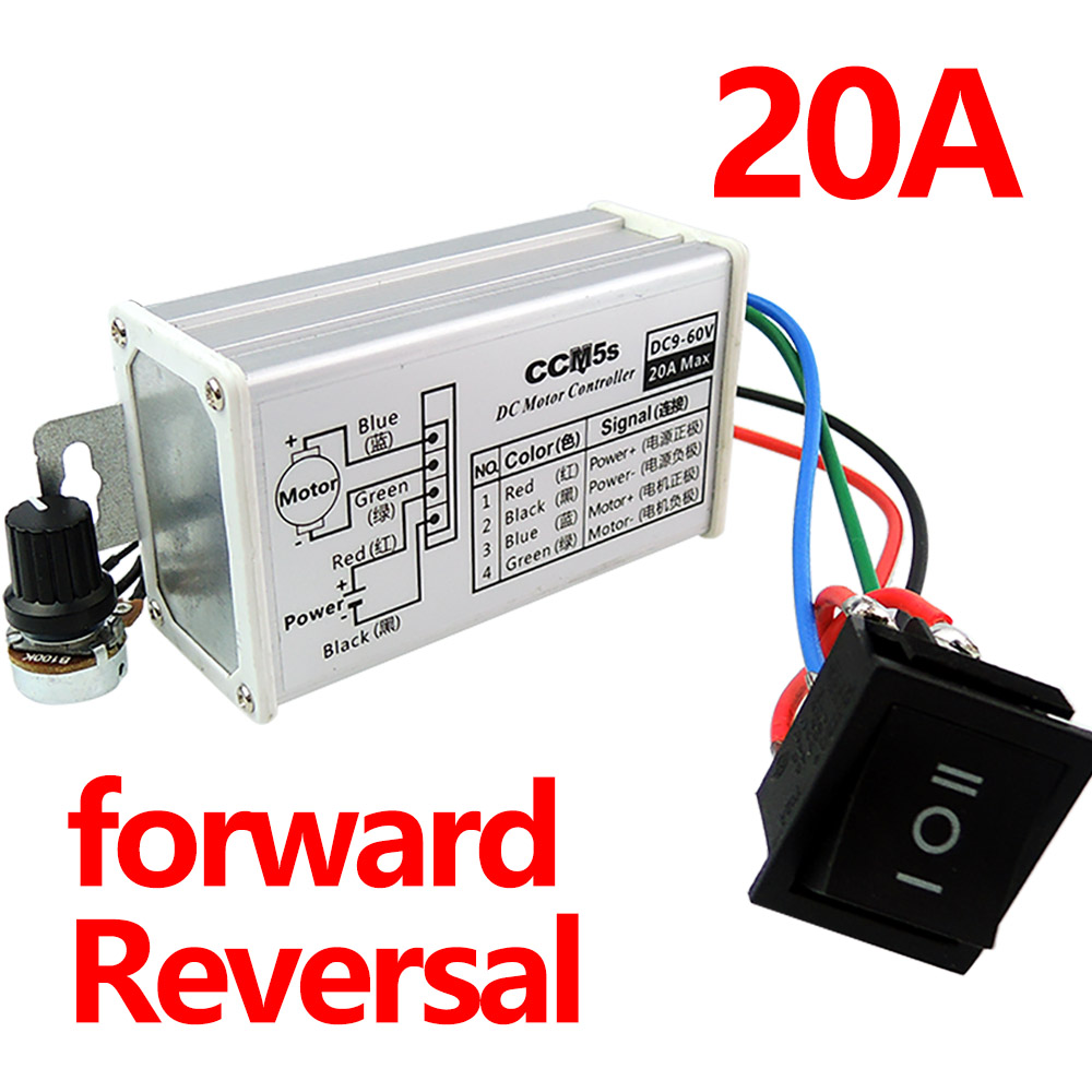 free shipping pwm motor speed controller 12v24v36v48v 20a dc motor variable speed reverse switch [ 1000 x 1000 Pixel ]