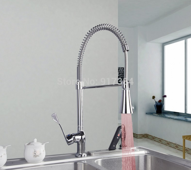 Solid Brass Spring Kitchen Faucet with Color Changing LED Light JN8088