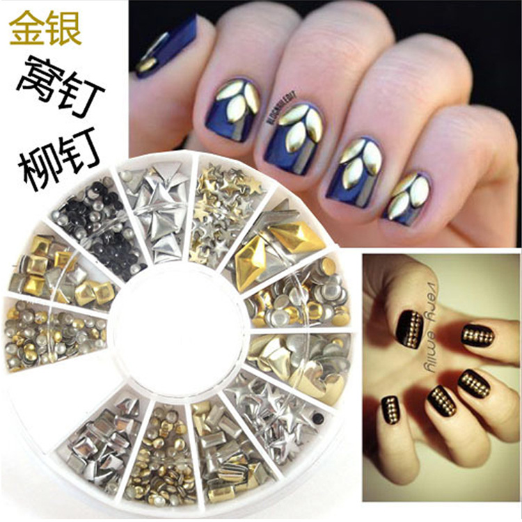 DIY Gold Silver Studs Nail Art 3D Design Decoration Stickers Square Punk Rivet rose gold silver black nail beads caviar studs multi size diy 3d nail art uv gel lacquer decoration in wheel manicure accessorie