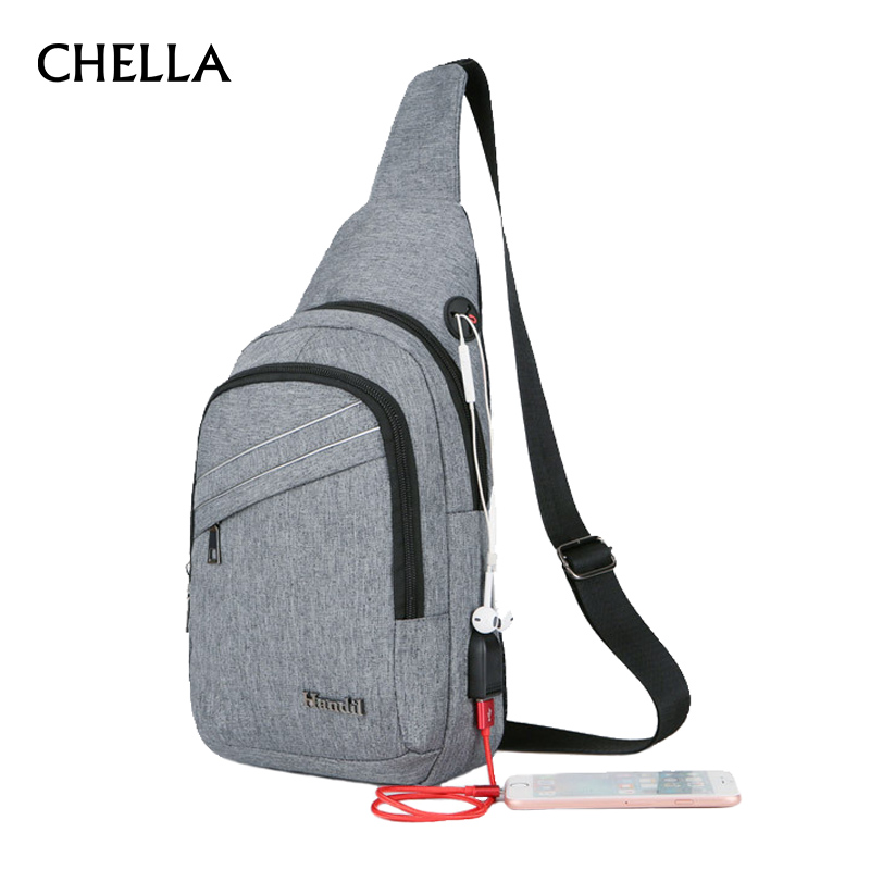 Anti Theft Men Backpack Canvas Headphone Hole Women Chest Bag USB Rechargeable Teenage Single Shoulder Bag Sac A Dos HommeBP0218