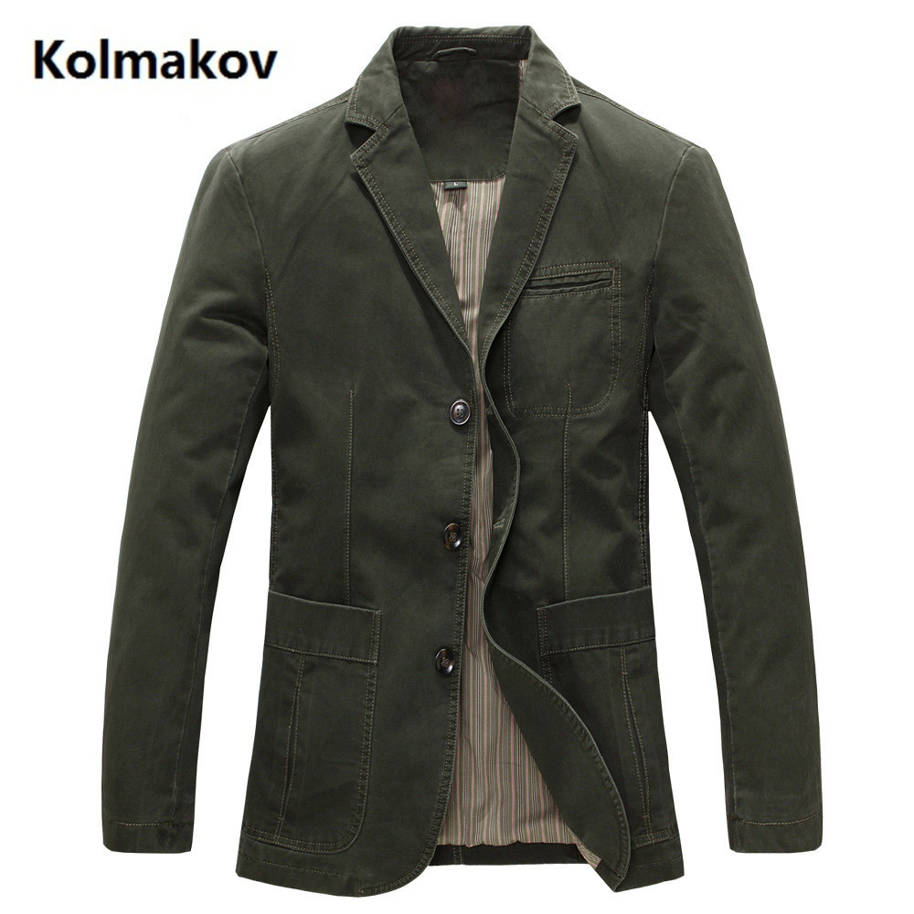 Spring  Men 100% Cotton Casual Blazer Men's Brand Military Jacket Blazers Mens Suit Coat Male Blazer Masculino Jackets