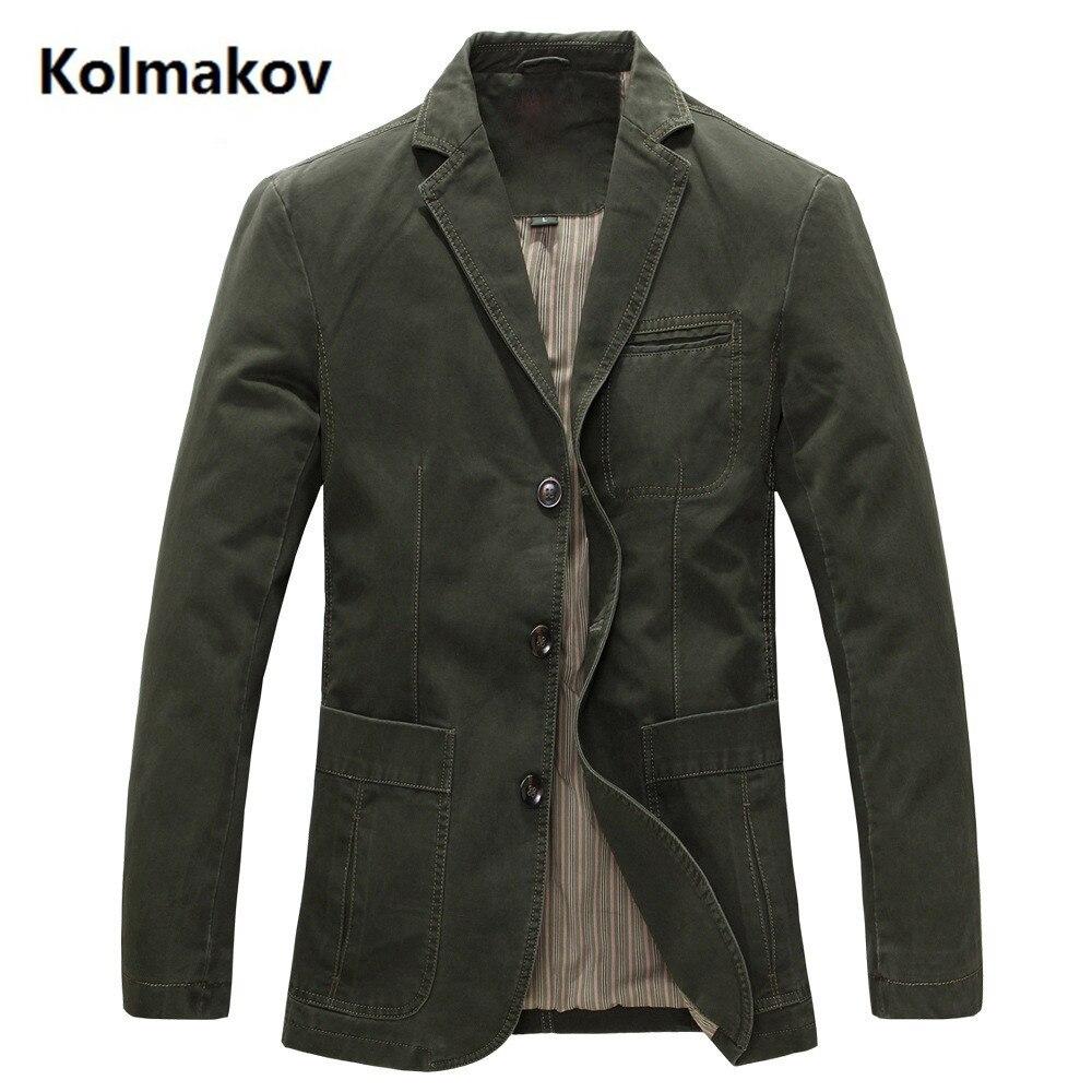 2019 printemps hommes 100% coton jolie pochette hommes marque militaire veste Blazers hommes costume manteau mâle Blazer Masculino vestes
