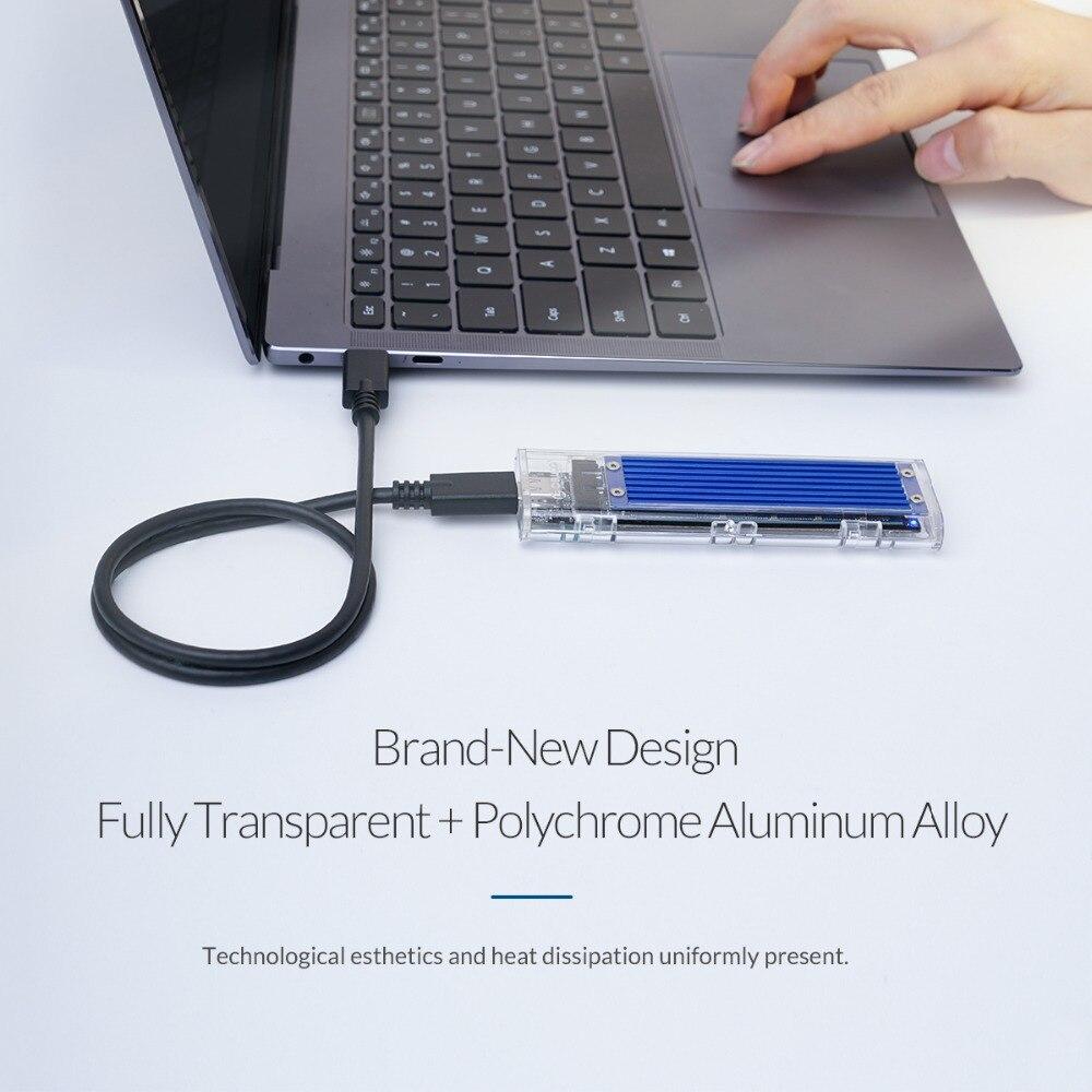 ORICO NOUVEAU Mini NVME M.2 à type-c boîtier SSD M.2 Clé Extérieur Transparent m.2 usb Gen2 10gbps Soutien UASP pour Samsung SSD