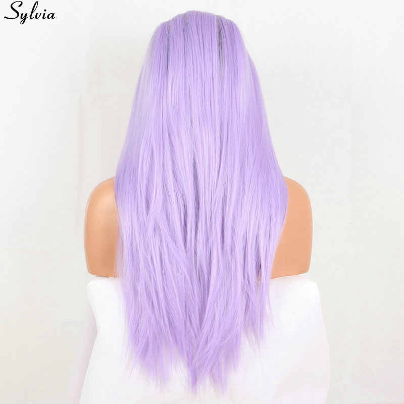 Sylvia light purple wig long silky straight replacement women soft hair synthetic lace front wig brown root ombre lilac/lavender