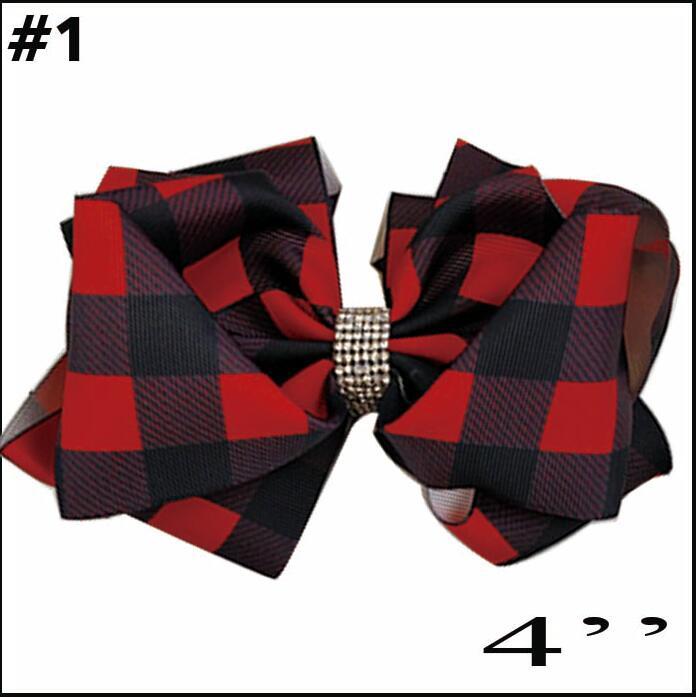 free shipping 30pcs Buffalo Plaid bows christmas Hair Bows With Clips plaid Kids Girls Princess Handmade