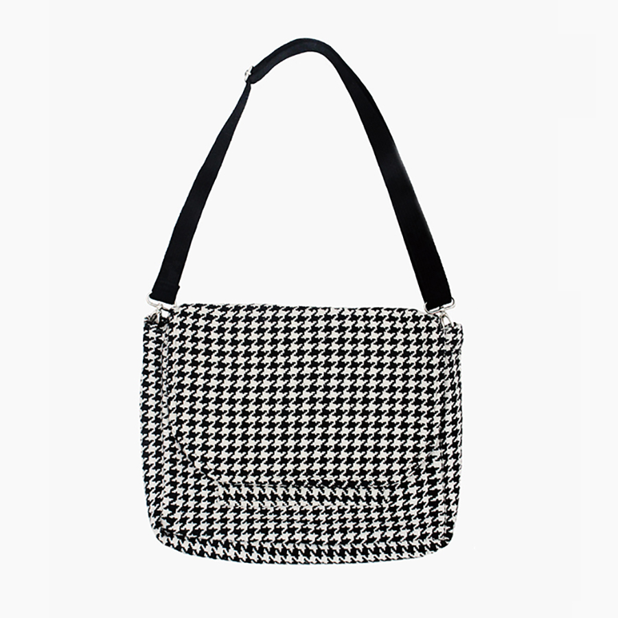 MOREUSEE classical houndstooth women satchel messenger bags in England style available for 13inch laptop (FUN KIK)