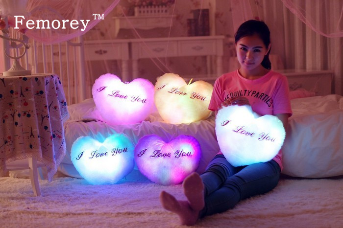 Hot Sale 38cm*35cm Led Light Pillow Luminous Pillow Christmas Toys Plush Pillow Hot Colorful Stars Kids Toys Birthday Gift