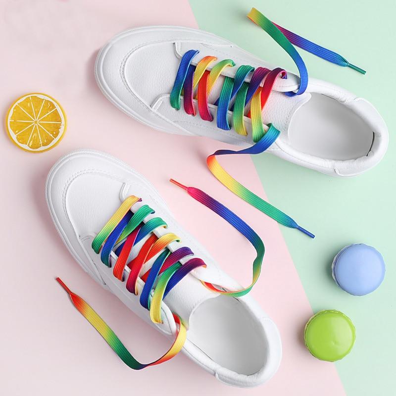 1 Pair Canvas Flat Shoe Lace Sport Shoelaces Fashion Unisex Casual Shoe Laces 100CM/120CM Red Yellow Blue Green 5 Color/7 Color