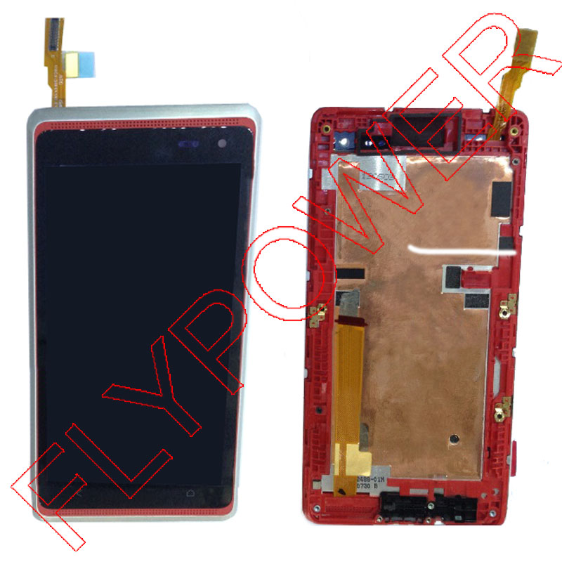 for HTC Desire 600 LCD display screen with touch screen digitizer + Frame assembly Silver by free shipping original lcd screen display touch panel digitizer with frame for htc desire 300 free shipping test ok best quality