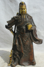 JP S0524 12″ Chinese Bronze Gild stand Knife Guan Gong Yu Warrior God General Statue B0403