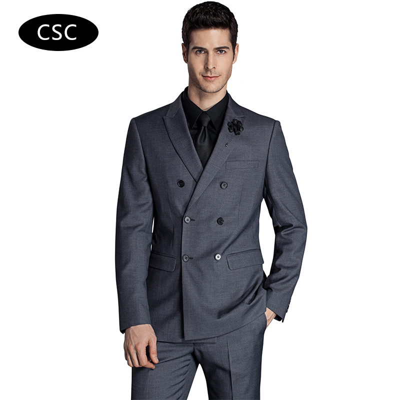 Aliexpress.com : Buy Men Double Breasted Wool Suit Slim fit Groom ...