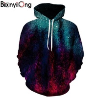 BIANYILONG Brands 3d Sweatshirts Hooded Men Women Hoodies With Cap Printing Autumn Winter Loose Thin Space
