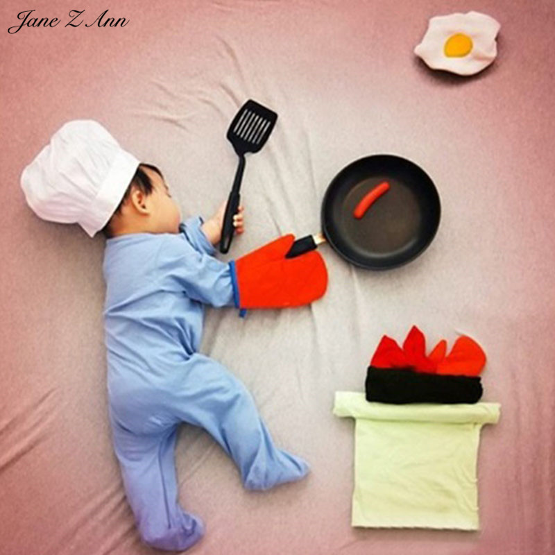 Jane Z Ann Baby Photography Props Theme Background Costume Clothes chef cook fotografia Accessories Studio Shooting Photo Props baby cook costume photo photography prop white newborn hat aprons