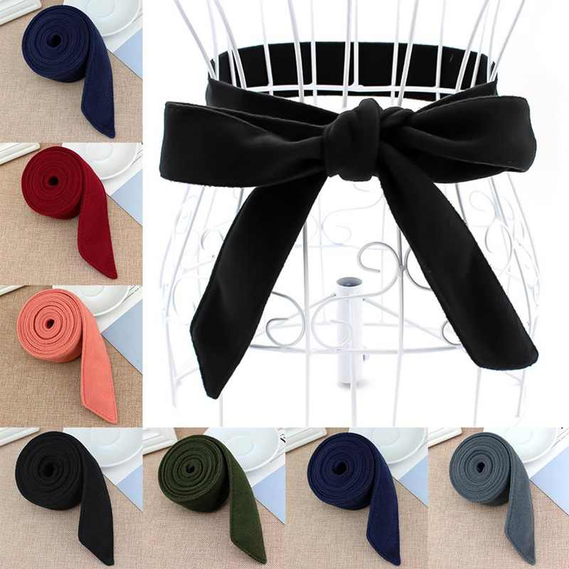 195*4.5cm Wool Blend Belts Women Solid Self Tie Bow Red Black Winter Ladies Waist Belt Strap Female Waistband Coat Accessories