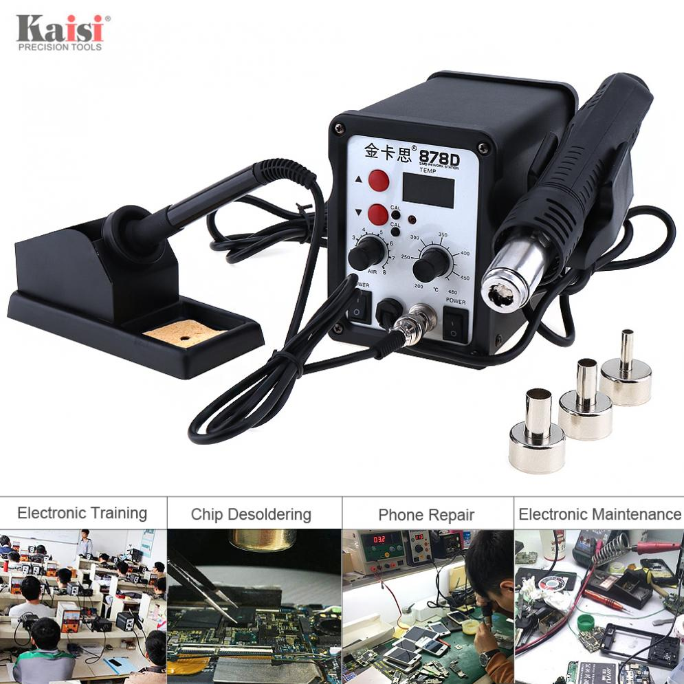 Kaisi-878D New 220V 700W 2 in 1 SMD Digital Display Soldering Station with Hot-Air Gun + Solder Iron for Desoldering and Welding цена