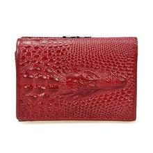 Royal Short Genuine Leather  Women Female Shining Alligator Wallet 3 Fold Zipper Coin Pocket Billeteras Mujer Purse