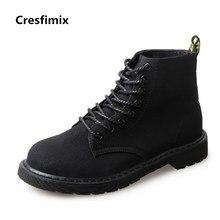 Cresfimix botas femininas mulheres casual todo preto confortável lace up botas de lazer da senhora outono & inverno botas legal sapatos b2841