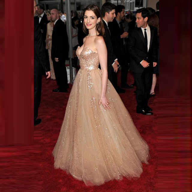 Red Carpet Celebrity Dresses Gold Sequins And Tulle Strapless Sparkly Long Evening Dresses High Fashion Oscar Evening Dresses