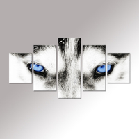 Canvas Wall Art Black and White Wolf Dog With Blue Eyes Poster Animal Face Head Series 5 Pieces Abstrect Picture Home Decor