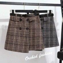 Fashion Plaid Woolen Skirt Female 2019 New High Waist A-Line Natural Casual Cotton