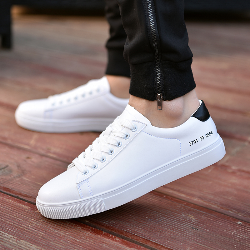 The era of simple men's shoes Fall Of White Shoes Leisure Shoes Pure White Male Adolescents Simple And Comfortable Shoes