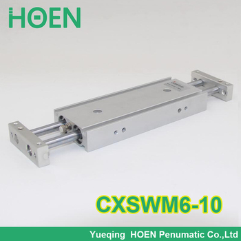 High Quality CXSW series CXSWM6-10 6mm bore 10mm stroke dual rod cylinder slide bearing double rod pneumatic cylinder CXSW6-10