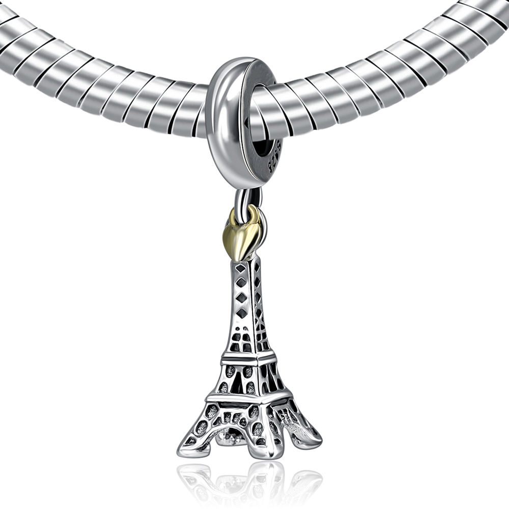Authentic 925 Sterling Silver DIY Bead Love Paris Eiffel Tower Pendant Charm With Gold Heart Beads Fit Pandora Bracelets Jewelry
