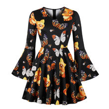 Women's Retro Vintage A-line Dress 2018 Halloween Printing Flare Sleeve Dress Long Sleeve V-neck Rockabilly Party Dresses S-4XL
