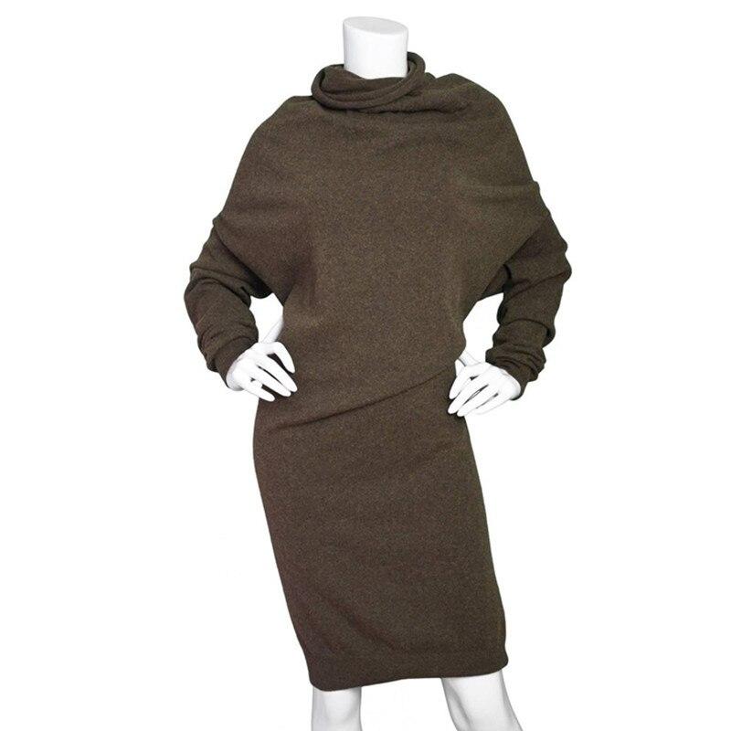 Women font b 2018 b font Winter Sweater Knitted Dresses Loose Elastic Turtleneck Long Sleeve Sexy