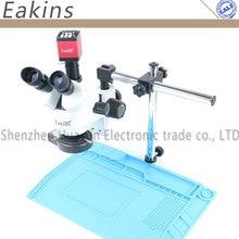 Simul-focal continua Zoom 7 ~ 45X Trinocular microscopio estéreo + HDMI/VGA microscopio Cámara + LED luz + soporte Universal + Mat
