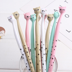 (1 pçs/vender) 0.7mm bonito kawaii crooked cat cabeça bola esferográfica canetas esferográfica para escritório escola material de escrita artigos de papelaria