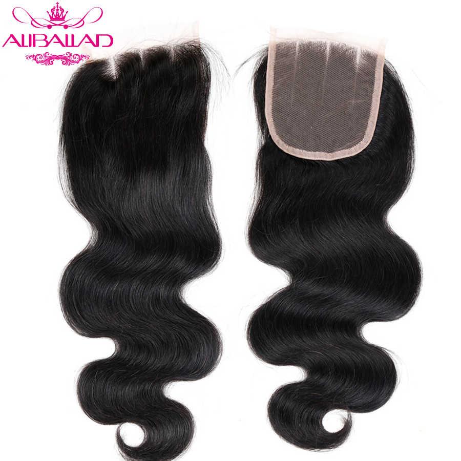 Aliballad бразильский объемный волнистый кружевной закрытие три части 4X4 натуральный цвет не-парик из волос Реми 100% человеческих волос