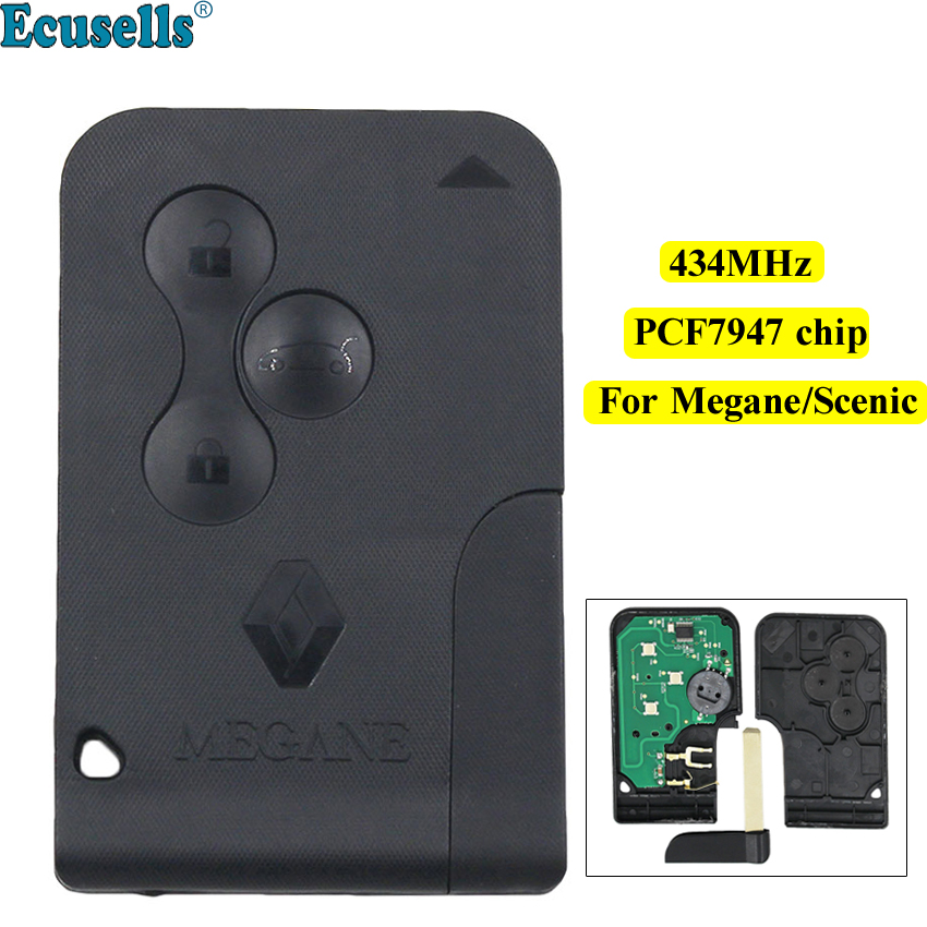 Smart card 3 Button Remote key 434Mhz PCF7947 Chip for Renault Megane Scenic with Uncut Key Blade with LOGOSmart card 3 Button Remote key 434Mhz PCF7947 Chip for Renault Megane Scenic with Uncut Key Blade with LOGO