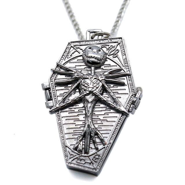 Popular Nightmare Before Christmas Vintage Quartz Pocket Watch Necklace Pendant for Chirldren Mens Womens Relogio De Bolso Gifts