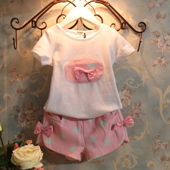 Baby 2 pcs set Girls Bowknot short sleeve T-shirt + Wave point shorts Suit wholesale