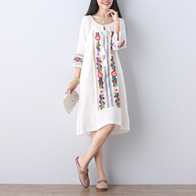 embroidery dress 2016 Loose big yards floral dress 3 colors autumn dress