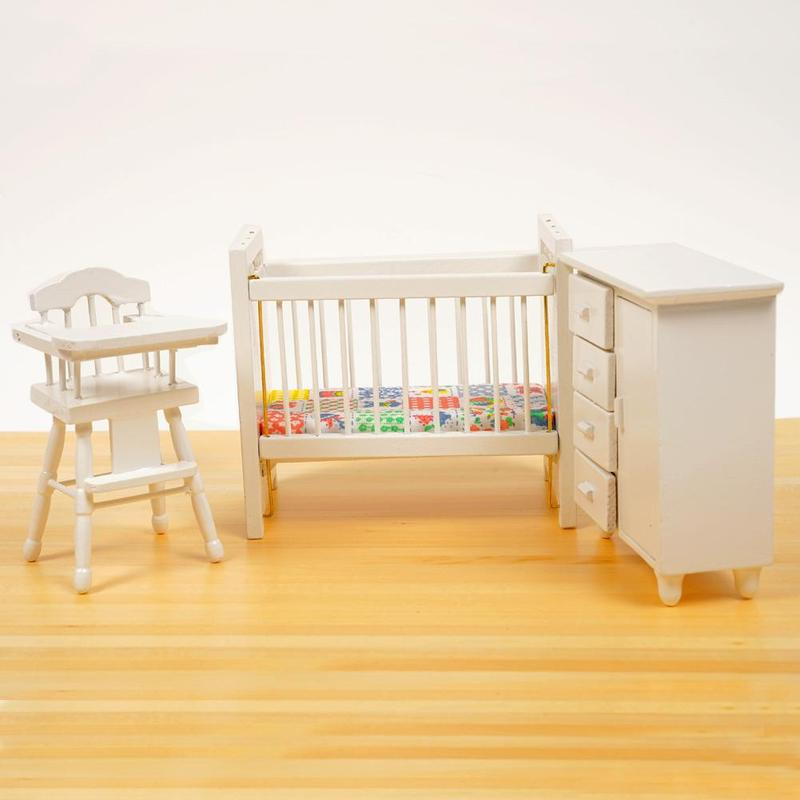 3pcs/set Dongzhur Bedroom Furniture Wooden Crib Bed Baby Chair Cabinet 1:12 Scale Dollhouse Miniatures Kids DIY Doll House