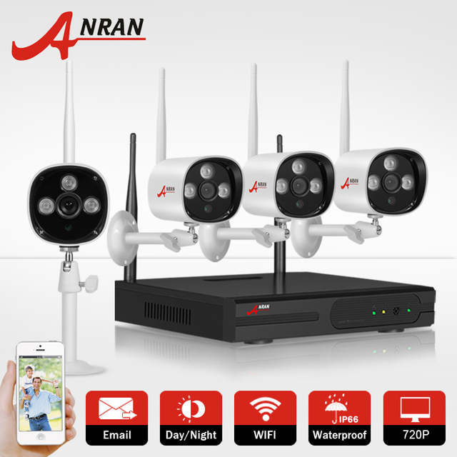 ANRAN 1TB HDD CCTV Camera System 4CH  720P H.264 Wireless NVR Video Recorder P2P 1.0MP HD Outdoor IR WIFI IP Security Camera