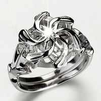 Superbe LOTR la Galadriel Nenya charme blanc AAA CZ simulé pierres 10kt or blanc rempli dame bague de mariage taille 5-11 cadeau