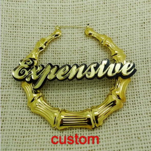 Customizable Basketball Wives Style Hiphop Bamboo Name Letters Earrings For Women In Stud From Jewelry Accessories On Aliexpress