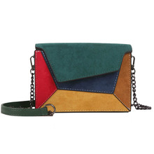 2019 Fashion Quality Leather Patchwork Women Messenger Bag Female Chain Strap Shoulder Small Criss-Cross Ladies Flap