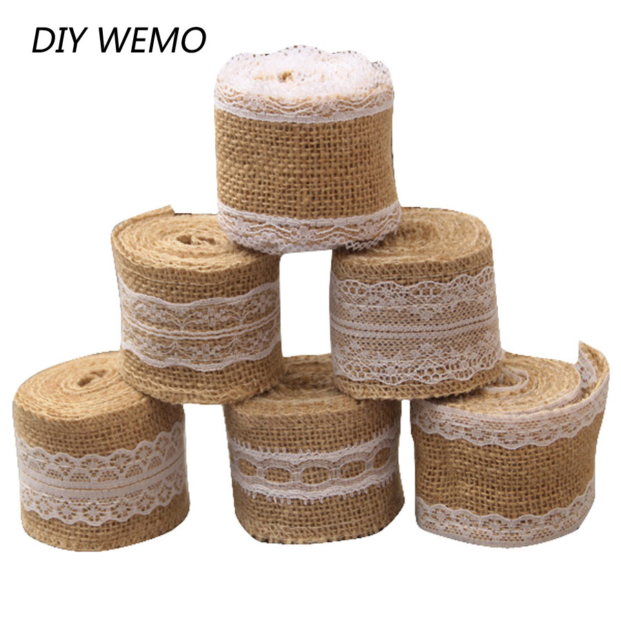 2 meter 5cm jute burlap rolls hessian ribbon with lace for Diy jute