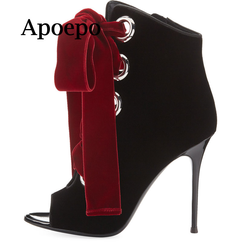 New Brand 2018 Hot Selling Velvet High heel boots thin heels ankle boots for woman Sexy open toe lace-up high heel boots new fashion sexy open toe ankle boots green velvet thin heels boots 2016 woman high heel boots peep toe cut outs boots