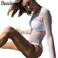 Bazaleas Verão Mulheres Moda Buraco Transparente Bodysuit Sexy Malha Atrair Playsuit Branco Mangas Compridas Bodycon Macacão