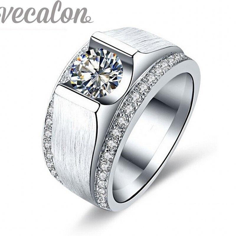 Vecalon 2016 new wedding band ring per gli uomini 2ct cz pietre 925 sterling silver maschile anello di fidanzamento dito gioelleria raffinata e alla moda