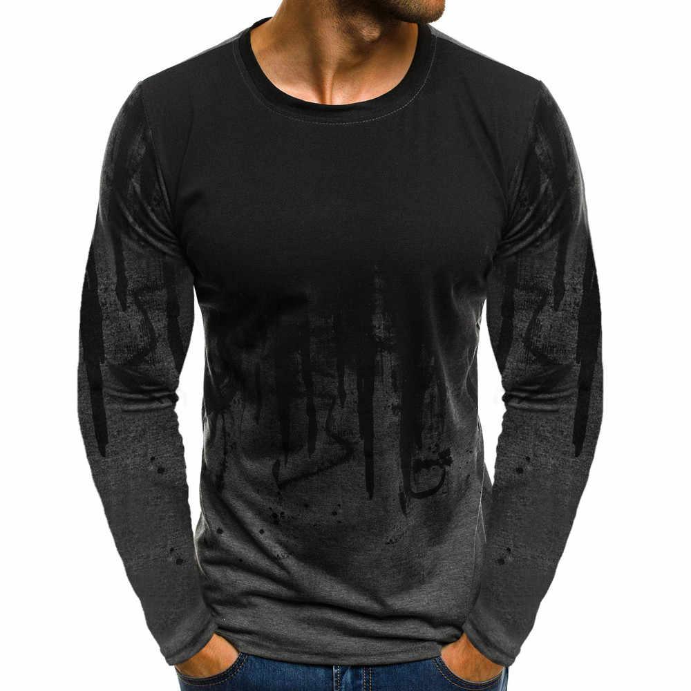 Camiseta เสื้อยืดผู้ชายชาย Gradient สีผ้าฝ้ายแขนยาว tshirt streetwear เสื้อ Tee เสื้อ Casual gym เสื้อยืดผู้ชาย 2019
