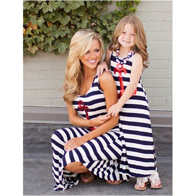 Лето Мать Дочь Платье якорь блестками Платье соответствия мать дочь одежда Устанавливает Мама И Дочь платье ropa мама é hija