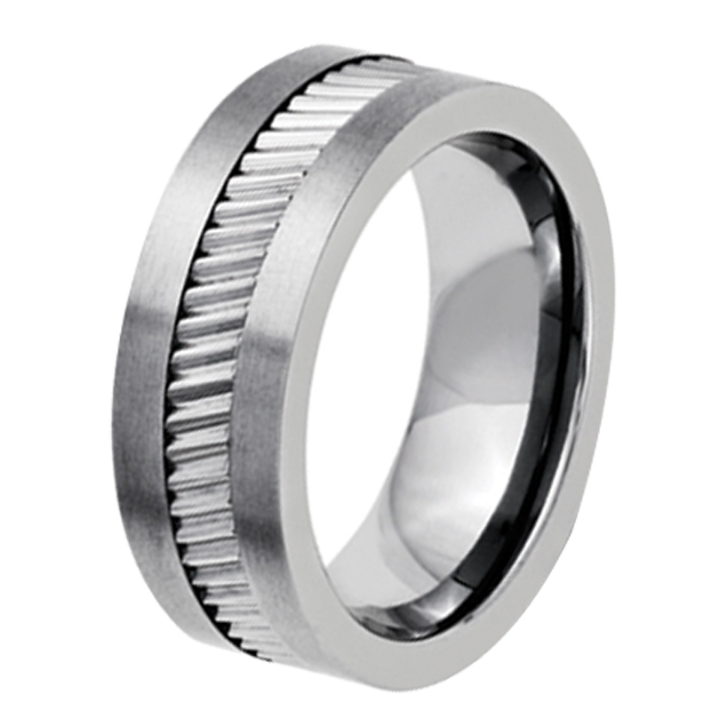 7mm mens silver healty titanium material wedding band ring with wheel gear center comfort fit us size 7 85 125 ti029r - Gear Wedding Ring