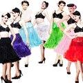 2015 Mujeres Al Por Mayor Suave Tela 65 cm Largo Atractivo de La Gasa de Pettiskirt Del Tutú de Tul Falda Slip Petticoat Rockabilly Retro 20 Colores