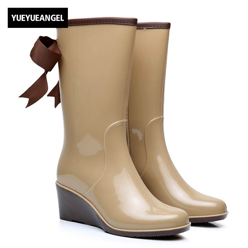 где купить New Arrival Fashion Womens Rain Boots For Woman Rubber 4 Style Ladies Wellies Mid-Calf Boot High Wedge Heels Shoes дешево